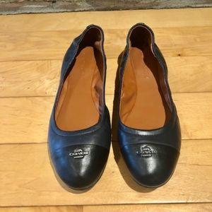 Coach Navy & Black Leather Ballet Flats - Size 8.5